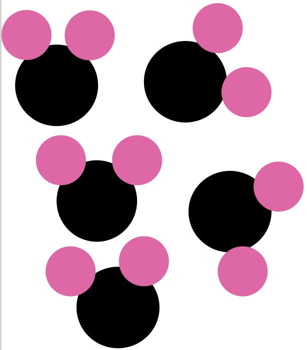 pink water molecules